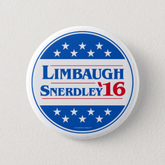 Rush Limbaugh for President 2016 Snerdley for VP Pinback Button