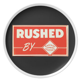 Rushed By Railway Express Agency Party Plate