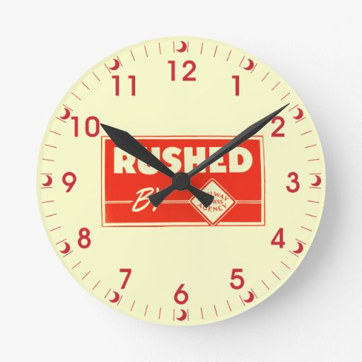 Rushed By Railway Express Round Wall Clocks