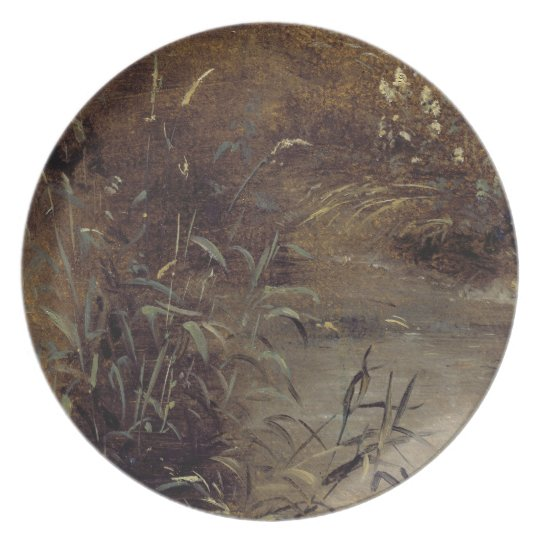 Rushes by a Pool, c.1821 (oil on paper on board) Dinner Plate