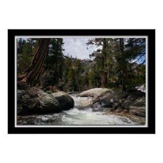 Rushing River in the Sierra Nevada Mountains Poster