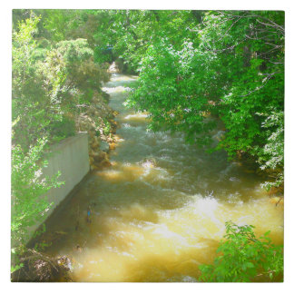 Rushing River under the Trees Tile