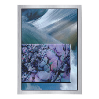Rushing Water with Purple Stones Card