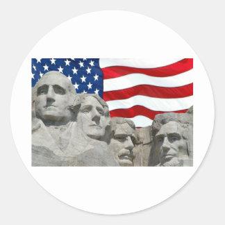 Rushmore / Flag Classic Round Sticker