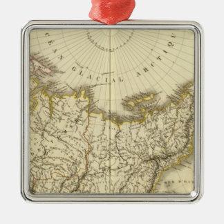 Rusia asiática y región polar septentrional adorno navideño cuadrado de metal