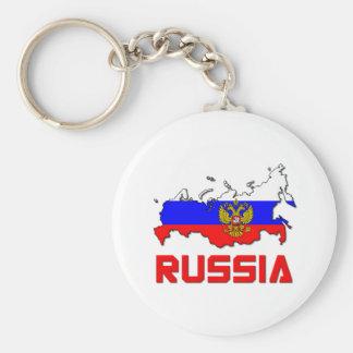 Rusia con el escudo llavero redondo tipo pin