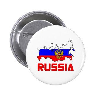 Rusia con el escudo pin redondo de 2 pulgadas