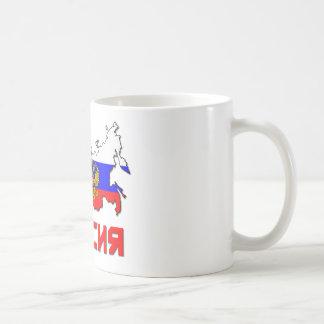 Rusia con el escudo tazas de café