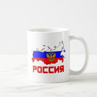 Rusia con el escudo taza básica blanca