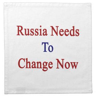Rusia necesita ahora cambiar servilleta de papel