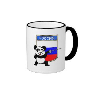 Rusia que cerca la panda taza de dos colores