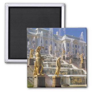 Rusia, St Petersburg, la gran cascada, Imán Cuadrado