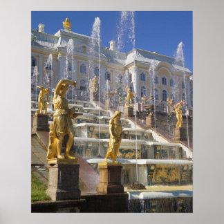 Rusia, St Petersburg, la gran cascada, Póster