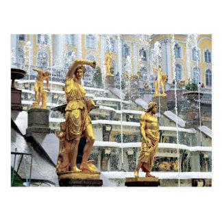 Rusia, St Petersburg, Peterhof, Samson y Tarjeta Postal