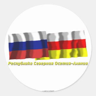 Rusia y república de Ossetia-Alania del norte Pegatina Redonda