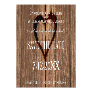 Rusic Wood and Engraved Heart Save the Date Magnetic Card