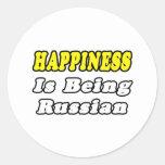 Ruso de la felicidad… pegatina redonda