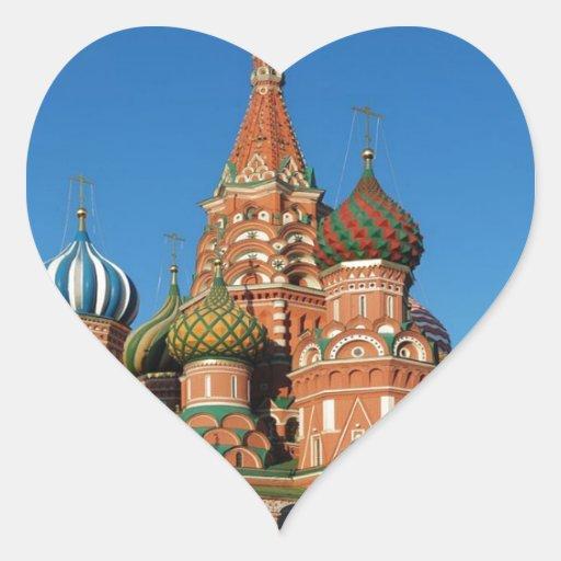 Ruso de Moscú de la Plaza Roja de la catedral de Pegatina En Forma De Corazón