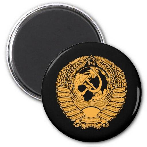 Ruso del vintage de la guirnalda del escudo de arm imán redondo 5 cm