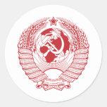 Ruso del vintage de la guirnalda del escudo de pegatina redonda
