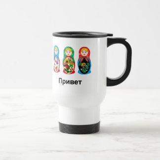 Ruso hola adiós tazas de café