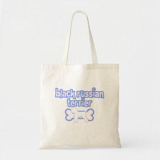 Ruso Terrier del negro rosado y azul Bolsa Lienzo