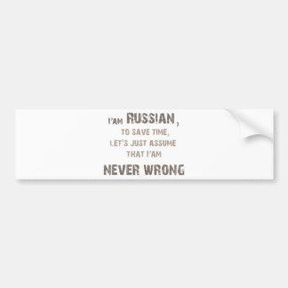 ¡Rusos nunca incorrectos! Pegatina Para Auto