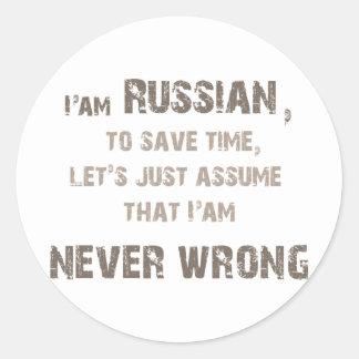 ¡Rusos nunca incorrectos! Pegatina Redonda