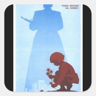 russ_poster.jpg_Propaganda Poster Square Sticker