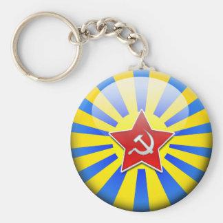Russain Flag Air Force Basic Round Button Keychain