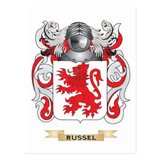 Russel Coat of Arms (Family Crest) Postcard