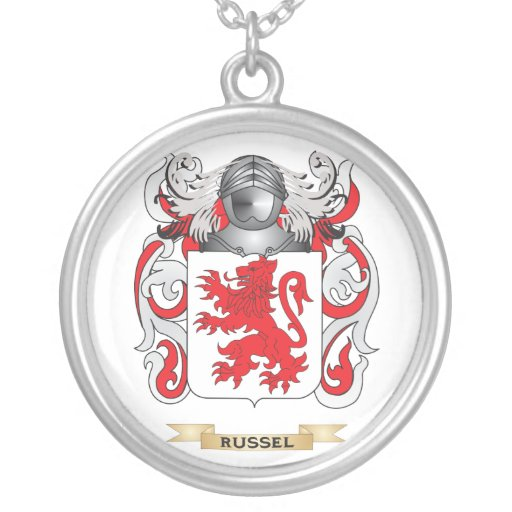 russel coat of arms family crest pendant necklace