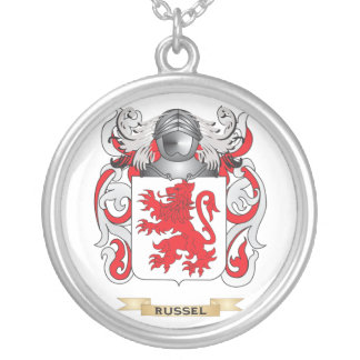 Russel Coat of Arms (Family Crest) Silver Plated Necklace