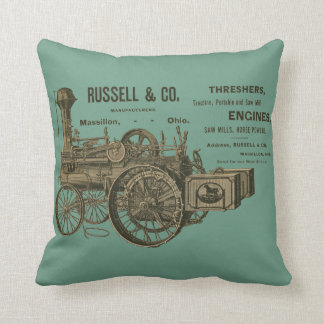 RUSSELL AND COMPANY STEAM TRACTION ENGINE 1889 THROW PILLOW