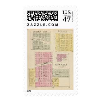 Russell, Bunker Hill, Leeson, Reeder, Kansas Postage