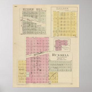 Russell, Bunker Hill, Leeson, Reeder, Kansas Poster