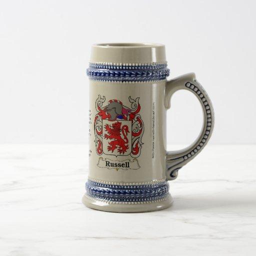 Russell Family Crest Ceramic Stein 18 Oz Beer Stein