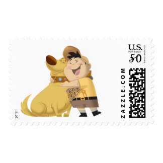 Russell hugging Dug - Pixar UP! Postage