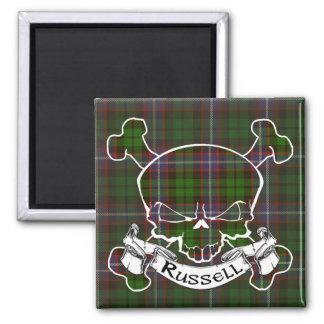 Russell Tartan Skull 2 Inch Square Magnet