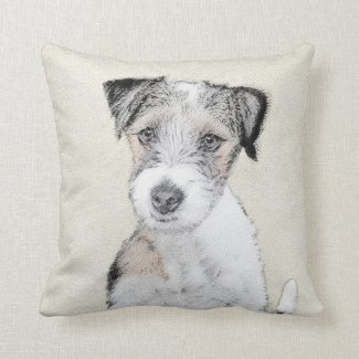 Russell Terrier (Rough) Throw Pillow