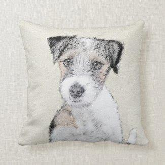 Russell Terrier (Rough) Throw Pillow