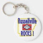 Russellville Rocks ! (blue) Basic Round Button Keychain