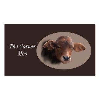 Russet Brown Cow Portrait Double-Sided Standard Business Cards (Pack Of 100)