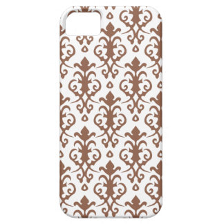 Russet Brown Damask iPhone 5 Case