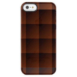Russet Brown Flannel Check Look Squares Clear iPhone SE/5/5s Case