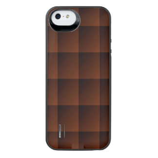 Russet Brown Flannel Check Look Squares iPhone SE/5/5s Battery Case