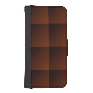 Russet Brown Flannel Check Look Squares iPhone SE/5/5s Wallet Case