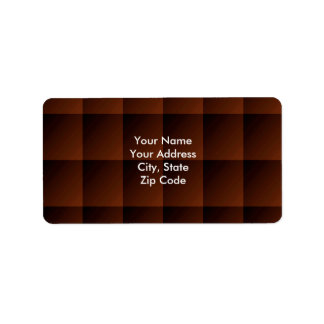 Russet Brown Flannel Check Look Squares Label