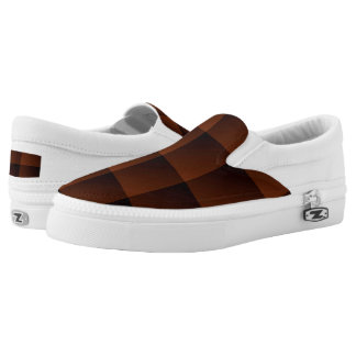 Russet Brown Flannel Check Look Squares Slip-On Sneakers