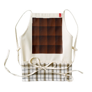 Russet Brown Flannel Check Look Squares Zazzle HEART Apron